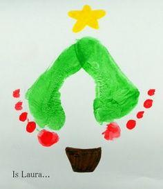 Albero di Natale con i piedini dei bimbi - Tutorial
