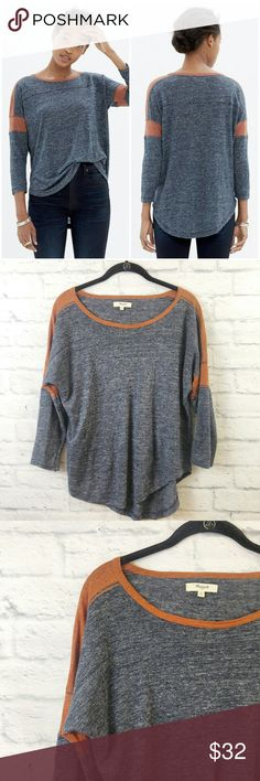 "Madewell Frontrunner Tee Sz Small Grey Orange As Seen on Joanna Gaines! Madewell Frontrunner Tee Sz Small Grey Orange. Great Pre Worn.   Fabric is Linen Measurements are below, taken straight across with the garment laying flat  Bust - 21"" Length - 23"" 00083423174 Madewell Tops"