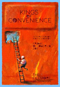 Kings of Convenience by Derek Johnson via Gig Posters Kings Of Convenience, Music Mix, Art Music, Concert Posters, Gig Poster, Music Posters, New Flyer, Music Illustration, Types Of Music