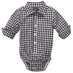 Button-Front Checked Poplin Bodysuit | Baby Boy New Arrivalsj Size: 9M