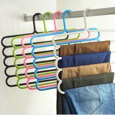 £2.76 GBP - Multi-Purpose Practical 5 Layers Pants Hanger Trousers Space Saving Tie Rack #ebay #Home & Garden