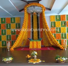 Beautiful Decor, Too perfect for your Haldi Ceremony💛 Marigold Decor is an exquisite part of Indian Wedding 😍💛😍 . Wedding Hall Decorations, Desi Wedding Decor, Luxury Wedding Decor, Marriage Decoration, Wedding Mandap, Backdrop Decorations, Wedding Receptions, Wedding Ideas, Flower Decorations