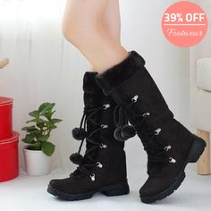 New Womens Ladies Winter Fashion Faux Fur Furry Balls Mid Calf Boots Shoes Hot Winter Shoes For Women, Snow Boots Women, Warm Snow Boots, Winter Boots, Mid Calf Boots, Knee High Boots, High Shoes, Long Boots, Flat Shoes