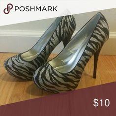 "Zebra Striped Stilettos Black and Silver zebra Striped Stilettos. ...The perfect addition to that ""Little Black Dress"" Shoes Heels"