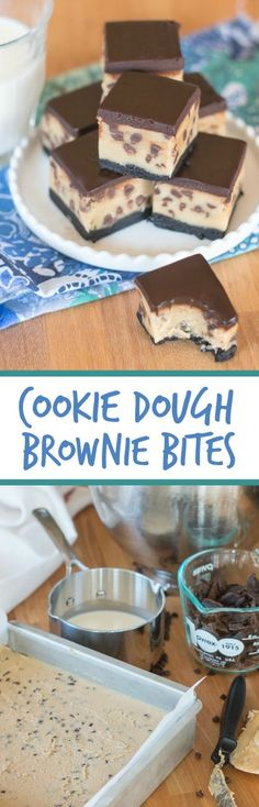 Rich chocolate chip cookie dough brownie bites combine three impossibly delicious layers of goodness. This decadent recipe features a thin, dense chocolate brownie topped with chocolate chip cookie dough smothered with chocolate ganache.