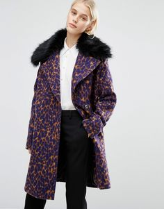 Image 1 ofLost Ink Smart Coat With Faux Fur Collar In Leopard Print
