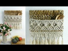 Macrame is a form of textile-making using knotting rather than weaving or knitting. Baskets On Wall, Wall Basket, Free Macrame Patterns, Macrame Wall Hanging Diy, Picture Hangers, Macrame Tutorial, Weaving, Crafts, Youtube