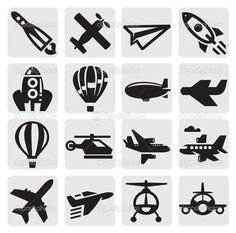 Vektor schwarz Flugzeug Symbolsatz auf grau
