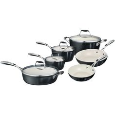 Tramontina Gourmet Ceramica Deluxe 10 Piece Cookware Set - Black ($300) ❤ liked on Polyvore featuring home, kitchen & dining, cookware, cookware sets, tramontina, tramontina skillet, tramontina cookware set, dishwasher safe cookware and tramontina fry pan