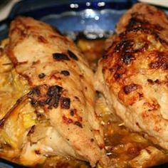 Squash Stuffed Chicken Breasts - tripled the amount of squash and added apples as well, seasoned with curry powder, cinnamon, cayenne and ginger, serve the extra stuffing as a side. Yum!