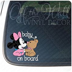 """Minnie Mouse W/Teddy Bear """"BABY ON BOARD"""" Sign Vinyl Decal Sticker for Cars / Trucks >>> For more information, visit image link. (Amazon affiliate link)"""