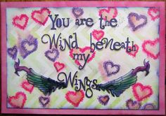 Can you see the wing part of the Air Element stamp.  The reverse image was stamped onto a blending mat then enhanced with a Micron pen, both cut out to form this card. The zig-zag & heart background stencils were also used