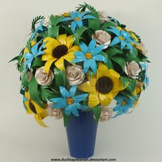 Duct Tape Flowers - Spring Vase ... beautiful!