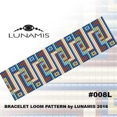 Bracelet loom patterns / square stitch made with size 11/0 Miyuki round beads Width: 3,5 cm / 1.4 (25 columns) Length: 15,5 cm / 6.1 Colors: 6 Patterns include: - Large colored numbered graph paper (and non-numbered in another files) - Bead legend (numbers and names of Toho beads colors ) - Word chart - Pattern preview This pattern is intended for users that have experience with loom and the pattern itself does NOT include instructions on how to do this stitch. 1 JPG & 1 PDF files…