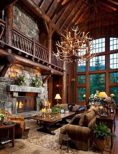 LOG CABIN- Visually, log homes tend to separate into two broad options. One is the historic style with dovetail corners and Chinking, that you see on our 55 Best Log Cabin Homes Modern page. The other, which you see on… Continue Reading → Log Cabin Living, Log Cabin Homes, Log Cabins, Barn Homes, Log Cabin Bedrooms, Rustic Bedrooms, Style At Home, Hunting Lodge Decor, Hunting Lodge Interiors