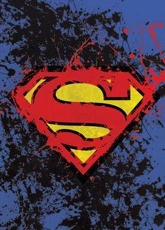 Superman Splatter Poster Print Superhero by TheCuttingEdgeShop