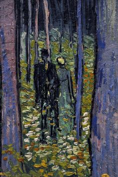 Cave to Canvas, Vincent van Gogh, Undergrowth with Two Figures. I love Van Gogh, how can you not. Art Van, Van Gogh Art, Vincent Van Gogh, Claude Monet, Van Gogh Pinturas, Van Gogh Paintings, Post Impressionism, Fine Art, Oeuvre D'art