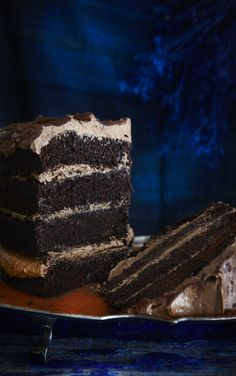 Chocolate layer cake with chocolate mousse icing