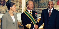 crownprincely:  Crown Princess Victoria and King Carl Gustaf with Nelson Mandela
