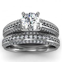 Three Row Pave & Channel Diamond Engagement Ring with Matching Band set in 18k White Gold  In stockSKU: S1067SET-18W