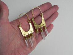 Spring Jewelry Sale rustic crystal point and metal hoop earrings, tribal crystal beaded earrings on Etsy, $36.40