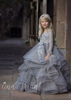 """""""Dove"""" gown by Anna Triant Couture Couture flower girl and special occasion dresses Baby Girl Frocks, Baby Girl Dresses, Baby Dress, Flower Girl Dresses, Girls Pageant Dresses, Little Girl Gowns, Gowns For Girls, Frocks For Girls, Fashion Kids"""