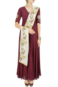 Maroon gold embroidered anarkali set BY BHUMIKA SHARMA