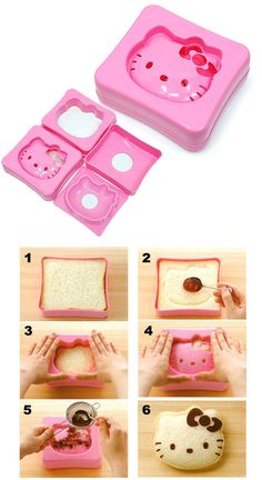 Do It Yourself Hello Kitty Sandwiches Maker is here! Make those lovely sandwiches with this Hello Kitty sandwich bread cutter and finish it with some cocoa Wonderful Day, Hello Kitty Birthday, Ideias Diy, Cat Party, Bento Box, Cute Food, Kids Meals, Just In Case, Kids Crafts