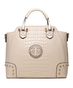 Another great find on #zulily! Beige Croc Medallion Satchel by MKF Collection #zulilyfinds
