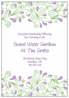 Enclosure Cards.  Printable Wedding Invitations Paisley Elise Suite: Purple and Green