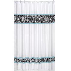 black and white and tiffany blue shower curtain   Zebra Shower Curtain -  White Black u0026