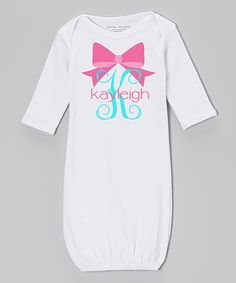 Another great find on #zulily! Pink & Aqua Personalized Bow Gown - Infant #zulilyfinds