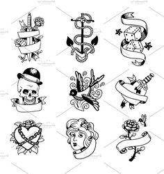 Old school tattoo element vector by Vectorstockersland on @creativemarket