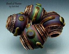 Handmade Glass Bead Set Lampwork - 4 Earthy Tie Dye Copper Capped. $88.00, via Etsy.