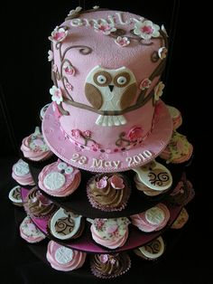 owl cake and cupcakes