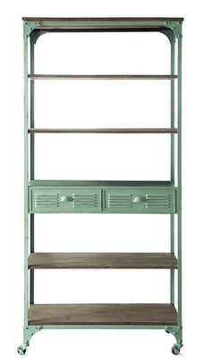 French Vintage Industrial Cottage Chic Anthropologie Look Bookshelf Kitchen Cart #FrenchUrbanCottageINdustrial