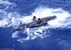 Buccaneer after being pushed off the stern of Ark Royal for flight safety film about the accidental loss of from Ark Royal, Ww2 Aircraft, Fighter Aircraft, Aircraft Carrier, Military Aircraft, Fighter Jets, Blackburn Buccaneer, Hms Ark Royal, Navy Coast Guard, South African Air Force