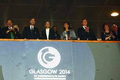 Dignitaries in attendance at the closing ceremony included (L-R) Commonwealth Games Federation president Prince Imran; Prince Edward, Earl of Wessex; Sophie, Countess of Wessex; British Prime Minister David Cameron; and Lord Provost of Glasgow Sadie Docherty.