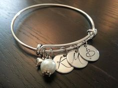 Handstamped Initial Bangle Bracelet by ShopGingerSquared on Etsy, $25.00