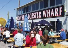 Harborside dining in Boothbay Harbor Maine at Boothbay Lobster Wharf