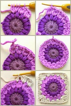 Transcendent Crochet a Solid Granny Square Ideas. Inconceivable Crochet a Solid Granny Square Ideas. Crochet Squares, Point Granny Au Crochet, Crochet Motifs, Crochet Blocks, Crochet Stitches, Crochet Afghans, Crochet Cushions, Crochet Pillow, Tunisian Crochet