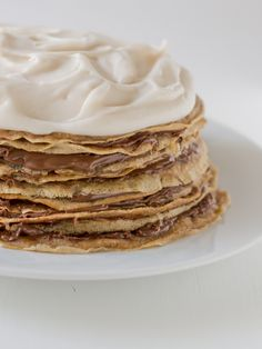 Nutella crepe cake with Coconut Whipped Cream | minimaleats.com #vegan #cake