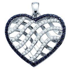 10kt White Gold Womens Round Black Colored Diamond Lattice Heart Pendant 1.00 Cttw