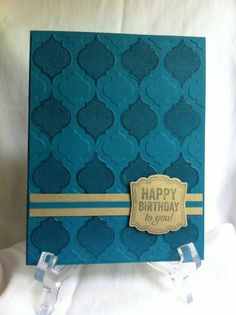 handmade birthday card ... Mosaic Madness by lizvick ... luv the tone on tone look of the stamping of this card ... Mosaic Madness embossing folder and stamp ... rich texture topped with a mat gold band and tag ... Stampin' Up!