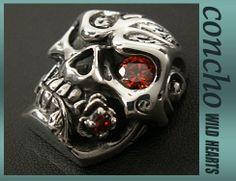 Concho/Skull/Solid Silver Skull with Zirconium/WILD HEARTS leather&silver http://item.rakuten.co.jp/auc-wildhearts/con1014/