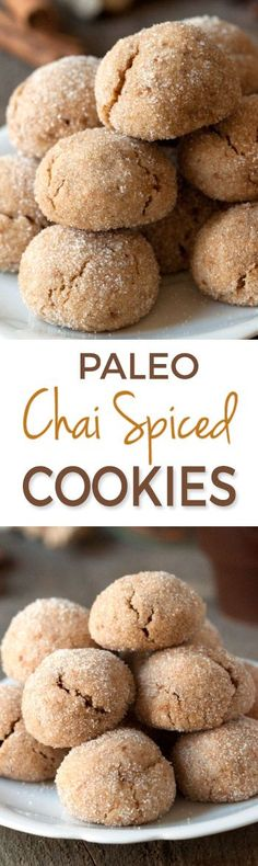 Paleo Chai Spiced Cookies are perfect for fall! I mixed some ginger, cinnamon, cardamom and cloves into the batter. These delicious paleo cookies turned out soft and chewy. As well as being paleo, these chai spiced cookies are also gluten-free, grain-free Gluten Free Sweets, Healthy Sweets, Dairy Free Recipes, Real Food Recipes, Cooking Recipes, Yummy Food, Fall Recipes, Disney Recipes, Disney Food