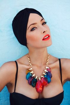 Turban and statement necklace