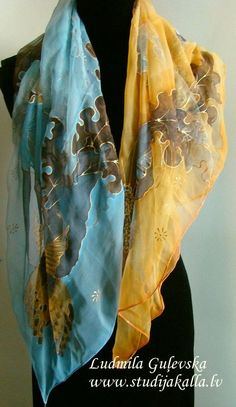 Natural silk hand painted scarf golden light blue by Studijakalla