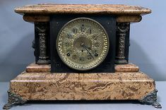 No key or pendulum is present. This clock features an impressive faux Painted marble finish. If you have been following Us. We are Out Picking the East Coast Weekly, So you don't have to! Wood Mantels, Old Wood, Victorian Era, East Coast, Clocks, Marble, Key, Antiques, Wood Baseboard