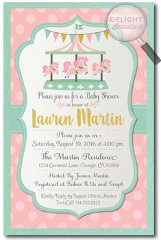 Vintage Carousel Baby Shower Invitations for Girls, professionally printed on beautiful metallic paper and artfully hand-mounted onto gorgeous mint card stock, this baby shower invite is stunning in person!